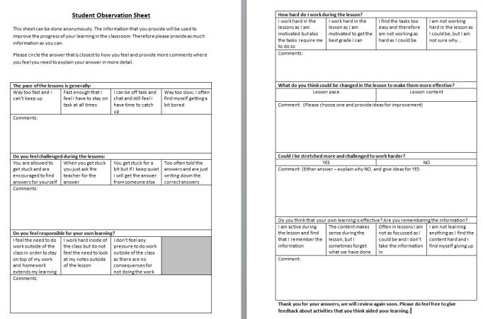 student-observation-sheet
